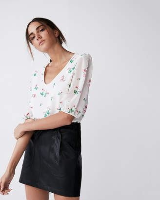 Express Floral Chiffon Puff Sleeve Blouse
