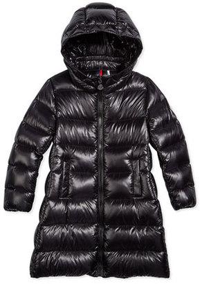 Moncler Suyen Hooded Down Coat, Black, Size 4-6 $515 thestylecure.com
