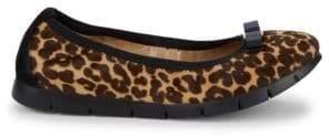 b130c77cd215 Salvatore Ferragamo Leopard-Print Leather   Calf Hair Ballet Flats
