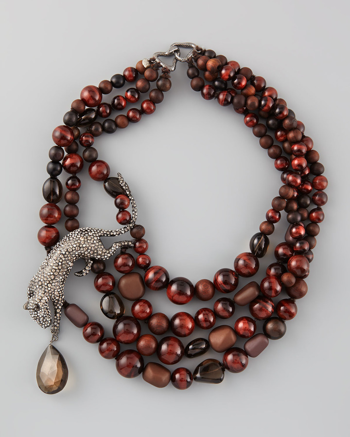 Alexis Bittar Multi-Strand Panther Necklace