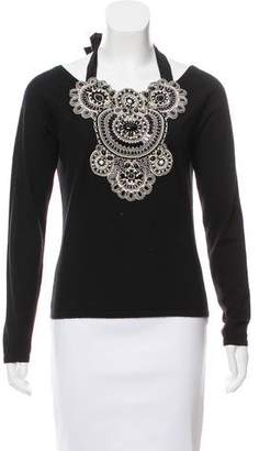 Naeem Khan Embellished Cashmere Top
