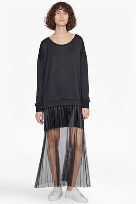 French Connection Annabelle Pleated Mesh Jersey Dress