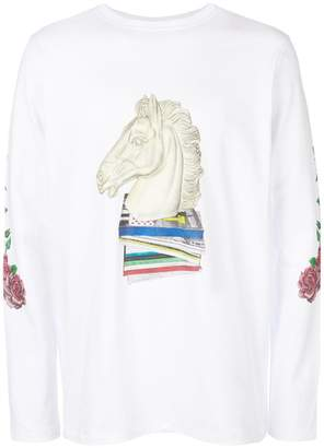 Soulland horse printed long-sleeved top