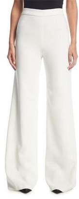 Marchesa Wide-Leg Flat-Front Stretch-Crepe Pants