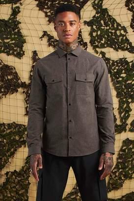 boohoo Brushed Flannel Long Sleeve Utility Shirt