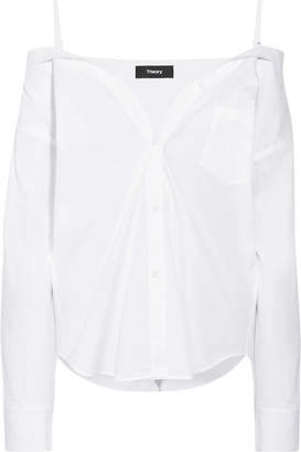 Theory Tamalee Off-the-shoulder Cotton-poplin Shirt - White