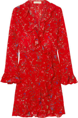 Paloma Blue Fiesta Ruffled Floral-print Silk Wrap Dress
