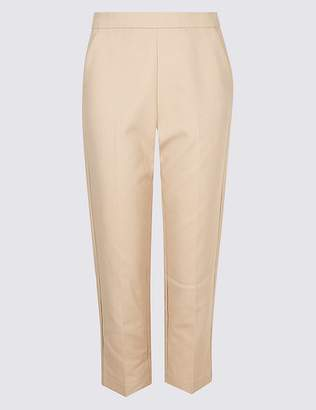 Marks and Spencer Cotton Rich Slim Leg Cropped Trousers