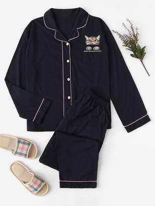 Shein Plus Cat Print Contrast Binding Pajama Set
