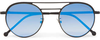 Cutler and Gross Round-Frame Aviator-Style Black Metal Mirrored Sunglasses