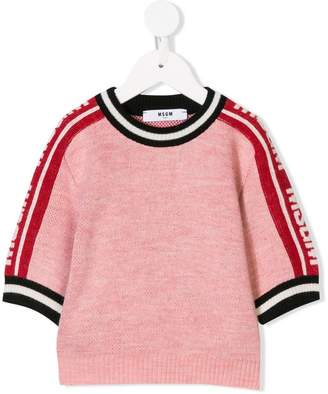 MSGM Kids logo sleeve knitted top
