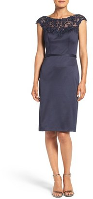 Women's La Femme Embellished Illusion Yoke Woven Sheath Dress $379 thestylecure.com