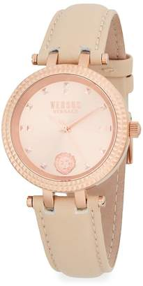 Versace Women's Posh Rose-Gold Stainless Steel & Leather Strap Watch