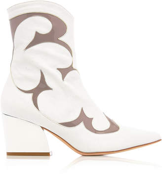 Tibi Felix Two-Tone Patent And Textured-Leather Ankle Boots