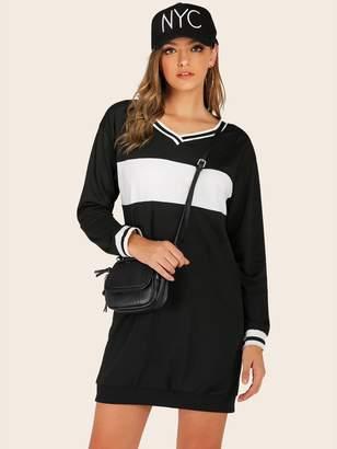 Shein V-neck Cut And Sew Stripe Panel Sweatshirt Dress