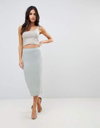 Asos Design High Waist Longerline Pencil Skirt