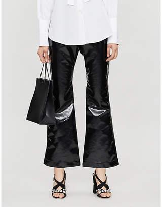 Ellery Orthodox flared vinyl cotton-blend trousers