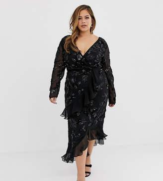 Virgos Lounge Plus floral embellished wrap front ruffle asymmetric midi dress in black