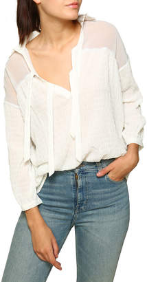 Line And Dot Lucie Textured Chiffon Collared Blouse