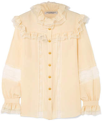 Philosophy di Lorenzo Serafini Ruffled Lace-trimmed Chiffon Blouse - Cream