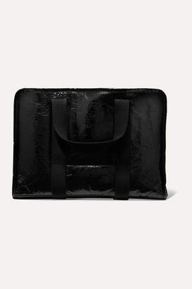 Kassl Editions - Small Shearling-lined Lacquered Textured-leather Tote - Black