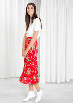 And other stories Asymmetrical Floral Midi Skirt