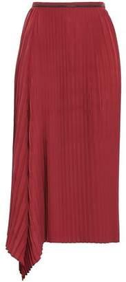 Brunello Cucinelli Bead-embellished Pleated Crepe De Chine Midi Skirt
