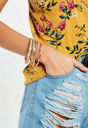 Missguided Gold Diamante Bangle Pack