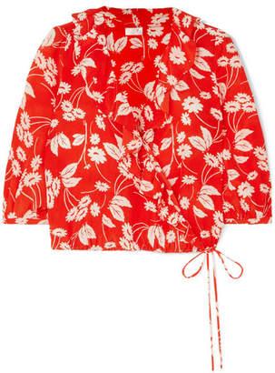 RIXO London - Sofia Ruffled Floral-print Silk-crepe Wrap Top - Red