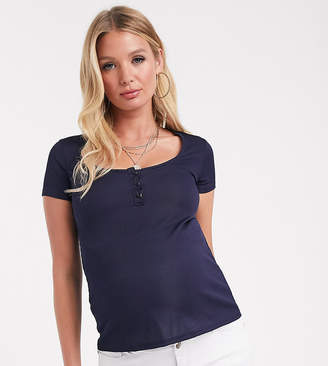 Fashionkilla Maternity button through plunge ribbed top in navy
