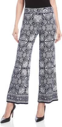 Max Studio Petite Printed Wide Leg Knit Pants