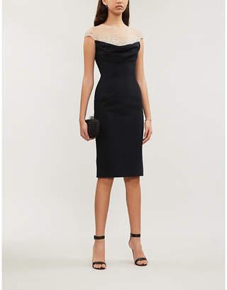 Jenny Packham Valentina embellished panelled jersey midi dress