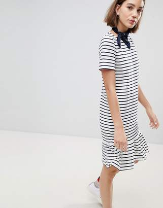 People Tree (ピープル ツリー) - People Tree Organic Fairtrade Cotton Drop Hem T-Shirt Dress In Breton Stripe