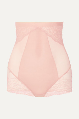 Spanx Spotlight Stretch-tulle And Lace High-rise Briefs - Neutral