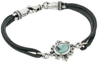 King Baby Studio - Black Multi Strand Bracelet with 8x10mm Turquoise in Baroque Frame Bracelet $270 thestylecure.com