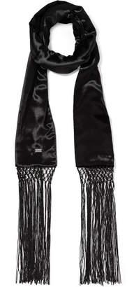 Saint Laurent Fringed Velvet Scarf - Black
