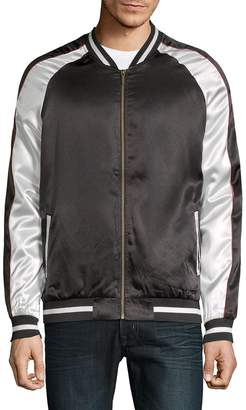 Standard Issue NYC Men's Colorblock Satin Bomber Jacket