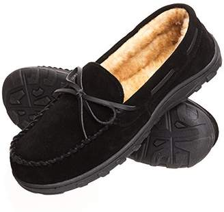 Rockport Mens Memory Foam Plush Suede Slip On Indoor/Outdoor Moccasin Slipper Shoe ( Moccasin, Size 14 Slipper)