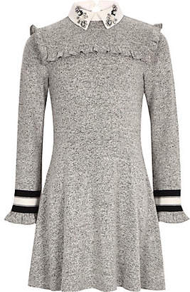 River Island Girls grey embellished collar dress