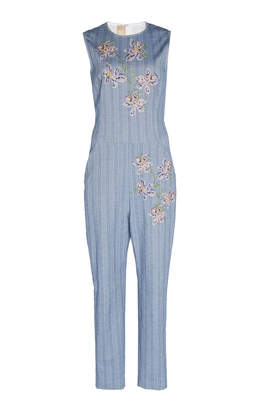 Pascal Millet Chambray Stretch Jumpsuit With Hand Embroidery