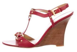 Valentino Leather T-Strap Wedges