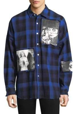 Haculla Plaid Graphic Patch Cotton Casual Button-Down Shirt