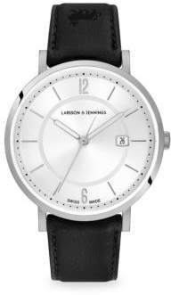 Larsson & Jennings Opera White& Silver Stainless Steel Leather Strap Watch