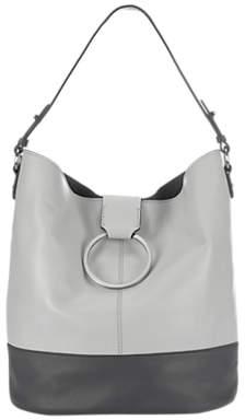 Mint Velvet Lucy Leather Ring Shoulder Bag, Stone