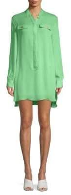 Pierre Balmain Long-Sleeve Silk Mini Dress