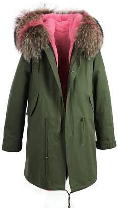 S.ROMZA Women Real Raccoon Fur Collar Faux Fur Lining Long Hooded Coat Winter Parka