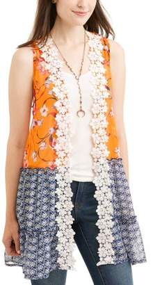 Truself Women's Crochet Trim Twofer Vest with Tank and Necklace