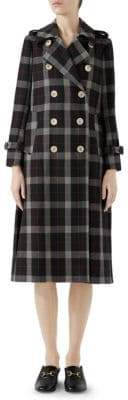 Gucci Wool Check Windowpane Pleated Coat