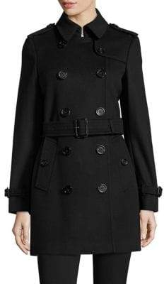 Burberry Kensington Wool& Cashmere Double-Breasted Trench Coat