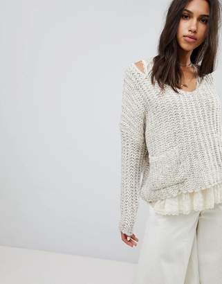 Raga Lazy Dayz Chunky V Neck Sweater